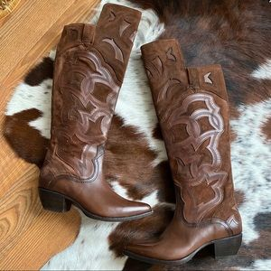 FRYE Brown Suede Western Embroidered High Boots